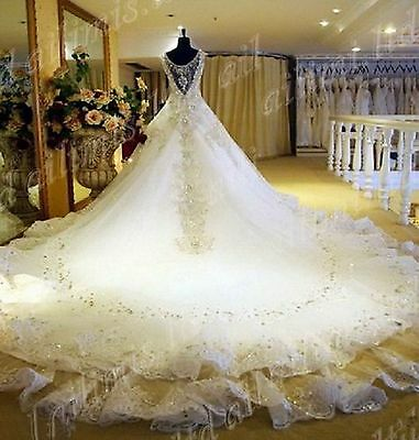 New White/Ivory Beads SWAROVSKI Luxury Crystal Cathedral Train Bridal Gowns