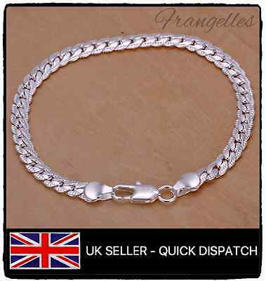 925 Sterling Silver Flat Chain Snake Style 8 Inch Curb Bracelet FREE Gift Bag
