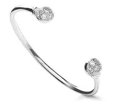 925 Sterling Silver Solid Baby Bangle Torque Golf Ball CZ Bracelet Christening