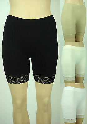 Lace hem trim bottom spandex biker yoga shorts stretch nylon seamless leggings