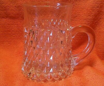 Vintage Clear Glass Mug  INDIANA GLASS TIARA, Diamond Point, Excellent Condition