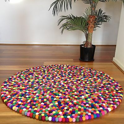 Mimosa Design 100% Woollen Handmade Multicolour Felt Ball Rug Kids Nursery Rugs