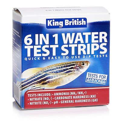 King British 6 In 1 Test Strips Fish Tank Aquarium and Pond