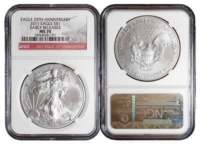 2011 $1 American Silver Eagle NGC MS70 Early Releases Red ER Label