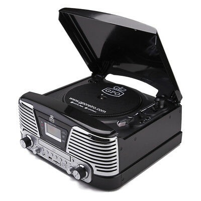 Black GPO Memphis Record Player/Turntable/CD/Radio/MP3/USB Music System