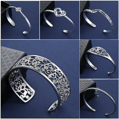 Fashion Crystal Letter Charm Wristband Bangle Cuff Bracelets 18K Silver NEW Gift