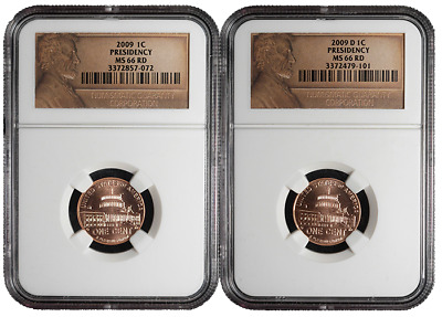2009 P&D 1c Presidency Lincoln Cent 2pc. Set NGC MS66 Red