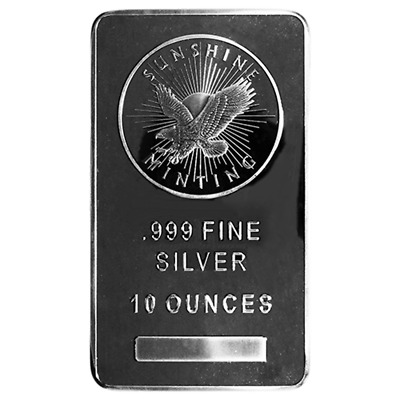 10 Troy oz Sunshine Mint .999 Fine Silver Bar Mint Mark SI Sealed