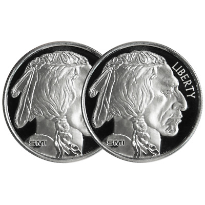 Lot of 2 - 1 Troy oz Sunshine Mint Buffalo .999 Silver Round Mint Mark SI
