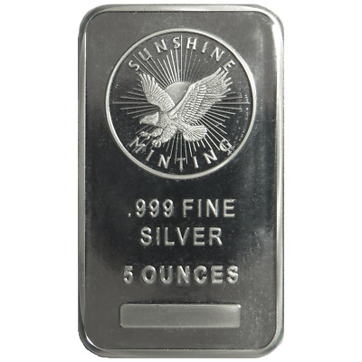5 Troy oz Sunshine Mint .999 Fine Silver Bar Mint Mark SI Sealed