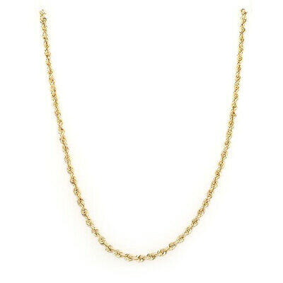 "BRAND NEW 14k Yellow Gold 2mm Rope Chain Necklace 16"" - 24"""