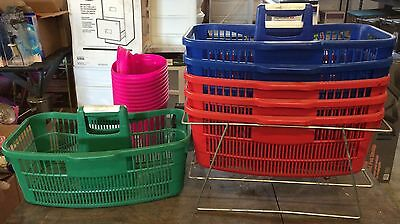 Set of 6 Plastic Shopping/Grocery Store Baskets & Wire Metal Stand/Holder EUC!!