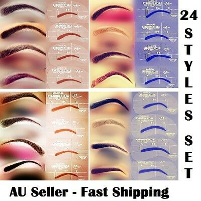 Eyebrow Stencil Grooming 24 Styles/Set Shaper Liner Template Make Up  Tool