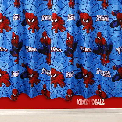 "Ultimate Spiderman City Curtains 54"" or 72"" Drop New Gift Marvel Disney XD"