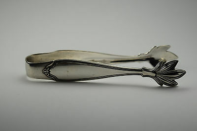 "Antique 925 Sterling Silver 4.00"" Sugar Tongs with Leaf Tips by SSMC"