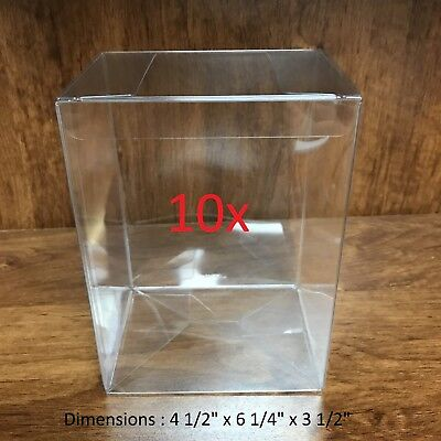 "10x Heavy Duty 0.5mm Clear Regular Plastic Funko Pop 4"" Inch Protector Box Case"