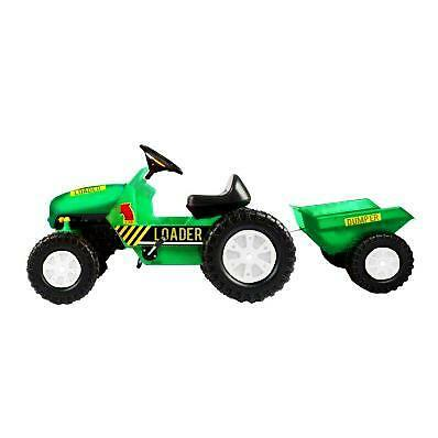 NEW! Childrens Pedal Ride on Green Super Kids Farm Tractor With Toy Trailer