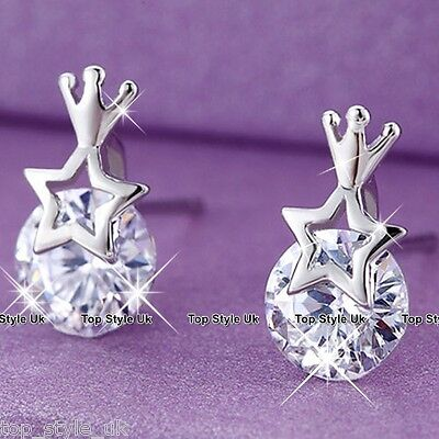 S925 Sterling Silver Crystal Star Diamond Stud Earrings Christmas Birthday Gift