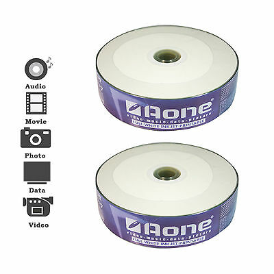 50 PACK AONE FULL INKJET PRINTABLE BLANK MEDIA CD-R DISCS 52x 700MB DATA 80 MINS