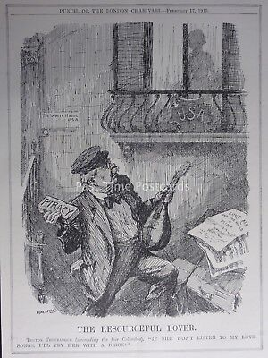 WW1 1915 THE WHITE HOUSE USA - THE RESOURCEFUL LOVER Punch Cartoon 17th February