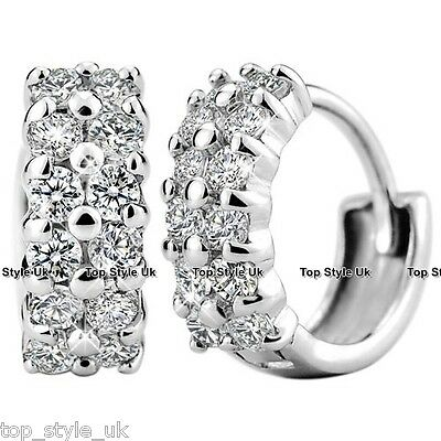 925 Sterling Silver Crystal Stud Hoop Earrings CZ Cubic Zirconia Christmas Gift