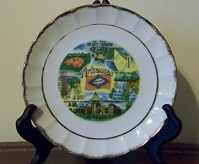 Arkansas Souvenir Plate Blanchard Hot Springs Lake Norfolk Razorback Capitol