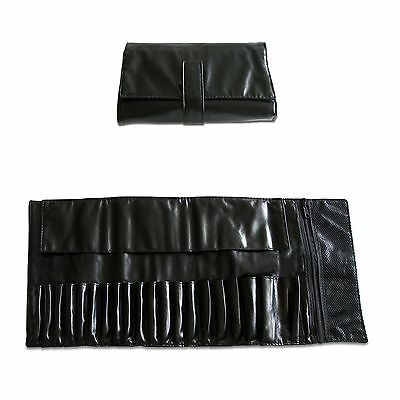 Beautydec Black Faux Leather Pro Makeup Brush Case Bag For Lot Cosmetic Brushes