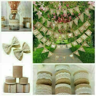 Jute Wedding Bunting Banner Vintage Shabby Rustic Hessian Burlap Party Decor