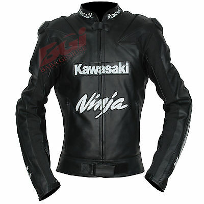 BGI Motorbike, Motorcycle Racing Motogp Kawasaki Ninja Leather Jacket Black