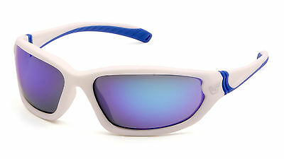 Venture Gear Ocoee VGSW165T White Blue/Ice Blue Mirror Safety Sunglasses AF Lens