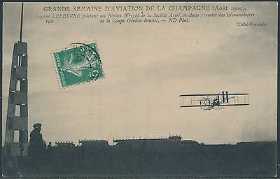 French Pioneer Aviation Postcard 1909 Biplane Wright Brothers Bs2488