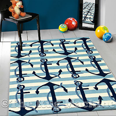 DIZZY KIDS NAUTICAL ANCHOR BLUE THICK ACRYLIC FUN FLOOR RUG 115x165cm **NEW**
