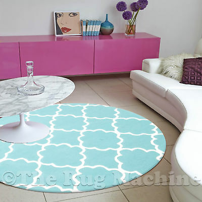 DIZZY KIDS MOROCCAN TILE LIGHT BLUE THICK ACRYLIC FLOOR RUG 120x120cm Round *NEW
