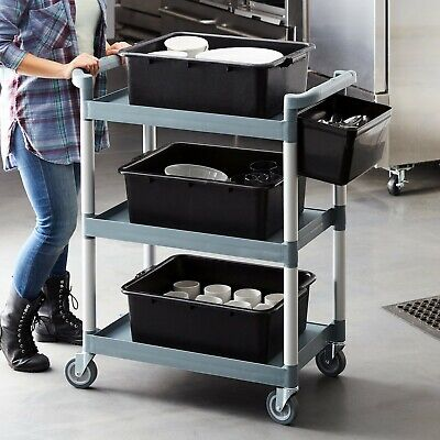 Restaurant Food Service Rolling Utility Bus Cart on Wheels - Free Shipping.