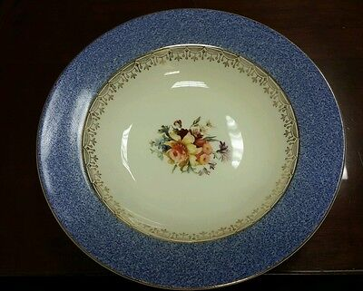 2 Steubenville China Soup Bowls Blue wide rim gold filigree floral center STB94