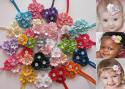 Baby Girls Triple Flower Christening Thin Elastic Headbands Hair Band-All Sizes