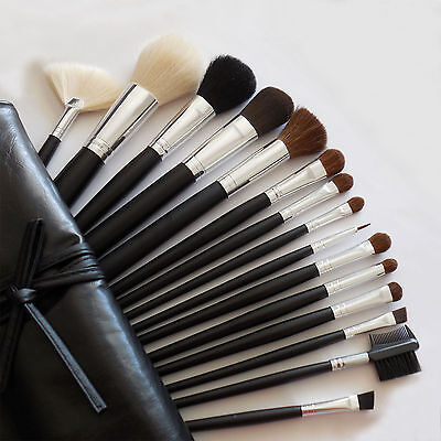 Lot Of 15 Pcs MakeUp Full Size Face Eyeshadow Brush Set W/ Cosmetic Bag Case