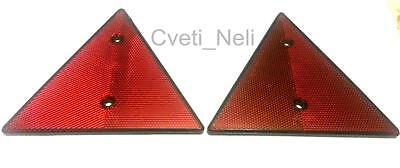 NEW 2x Triangular Red Reflectors Triangle Pair for trailers caravans