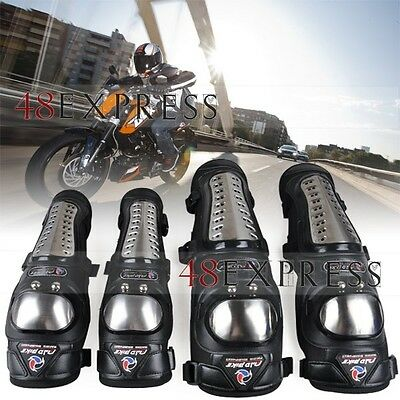 Adult Stainless Steel Knee Shin&Guards Protector Brace Motorcycle Off-road Race!
