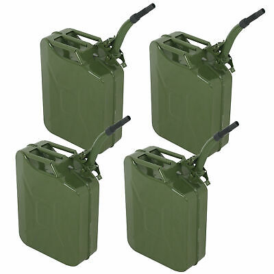 4PCS 5Gallon Military Style Jerry Green Can Fuel Storage Steel Fuel Tank 20L