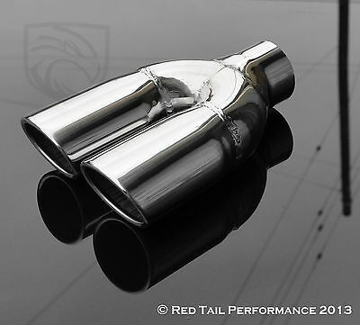 "Black Red Tail Exhaust Muffler Tip Oval 2.25/"" Inlet 5.75/"" wide /& 3/"" tall OD"
