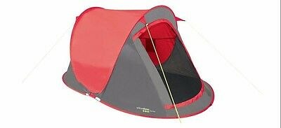 Yellowstone Fast Pitch 2 Man Tent 2 Season Red Camping 2 Person Quick Folding