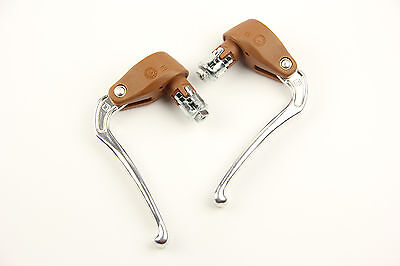 DIA-COMPE Vintage Bicycle Road Bike Fixed Gear Brake Levers Embed W/ Grips Brown