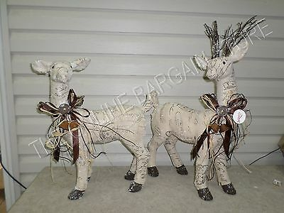 Frontgate Grandinroad Christmas Snow Frosted Reindeer Figures Decor Set 2 Large