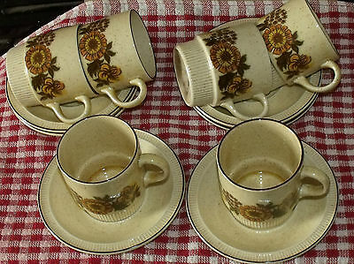 Vintage 1950's/60's Retro Poole Thistlewood 6 X Coffee Cups And Saucers