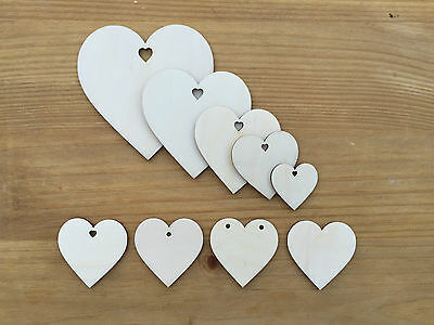 Wooden Love Hearts Shapes Embellishments Large Small Hanging Heart Shape Craft