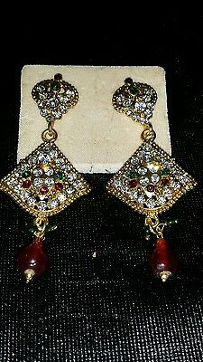 Antique gold plated ,indian handmade Cubic Zirconia, ,earrings .usa