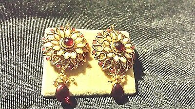 Antique gold plated ,indian handmade small Cubic Zirconia,  earrings and usa