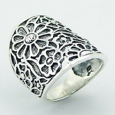 Silver ring 925 sterling shiny open flowers with antique silver 6us 7us 8us 9us