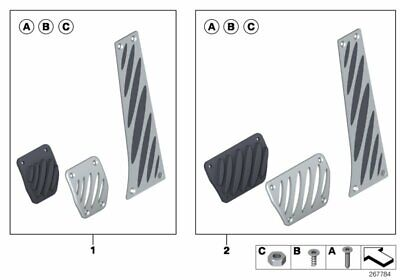 BMW Genuine Aluminium Foot Pedal Pads Covers Set 35002213214
